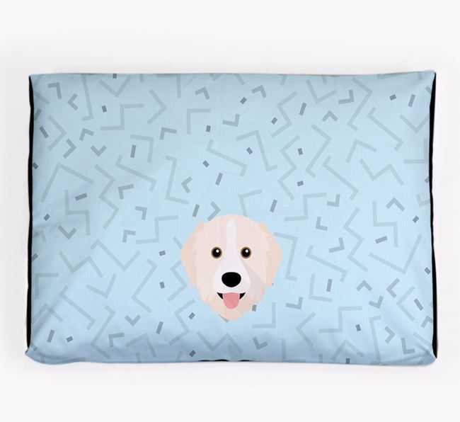 Personalised Minimal Dog Bed with Great Pyrenees Icon