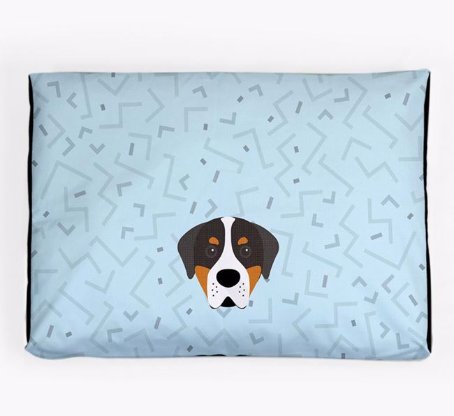 Personalised Minimal Dog Bed with Greater Swiss Mountain Dog Icon