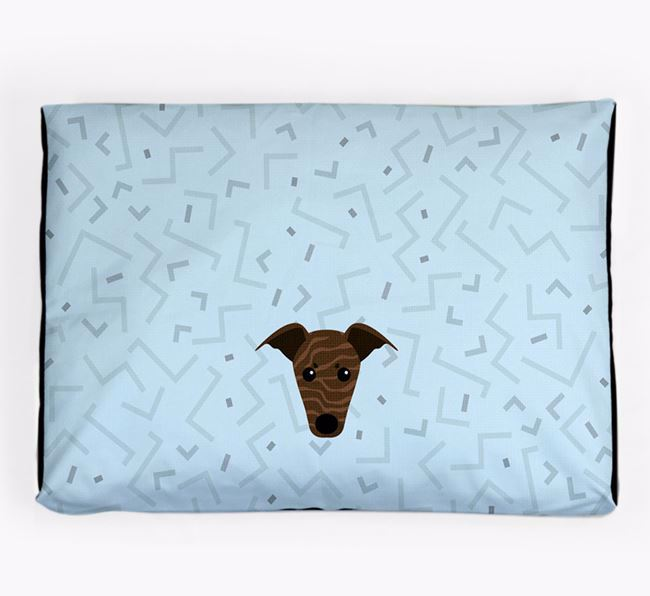 Personalised Minimal Dog Bed with Greyhound Icon