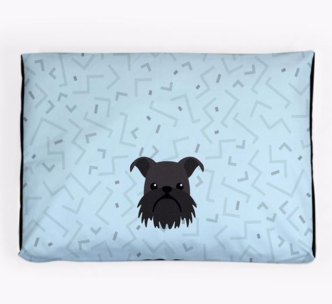 Personalised Minimal Dog Bed with Griffon Bruxellois Icon