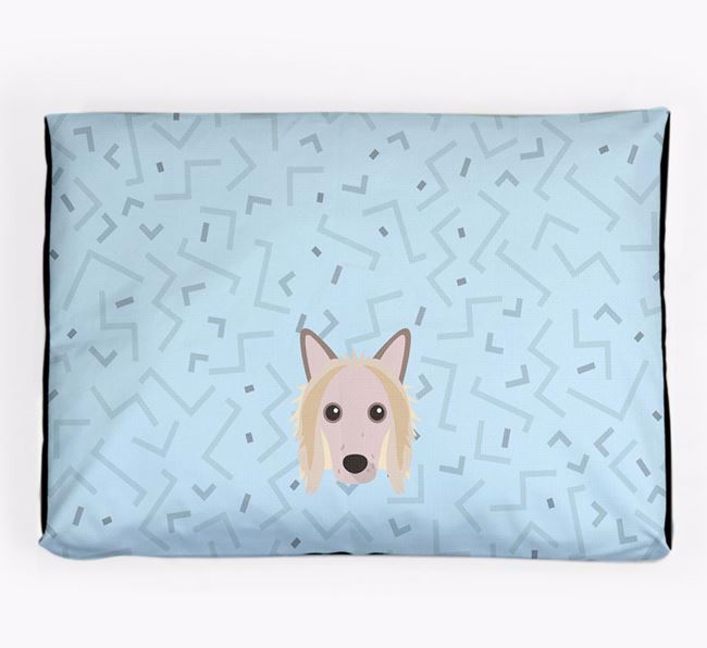 Personalised Minimal Dog Bed with Hairless Chinese Crested Icon