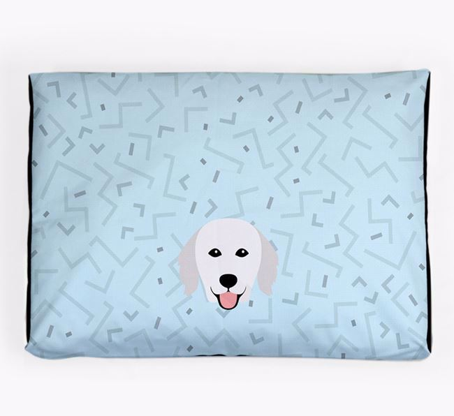 Personalised Minimal Dog Bed with Hungarian Kuvasz Icon