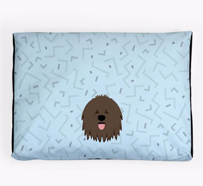 Personalised Minimal Dog Bed with Hungarian Puli Icon