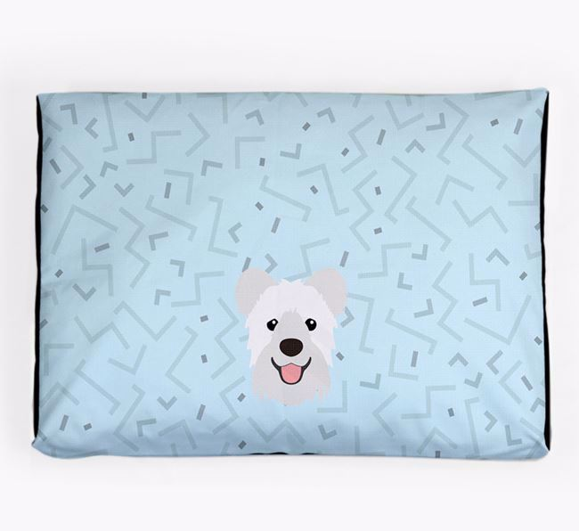 Personalised Minimal Dog Bed with Hungarian Pumi Icon