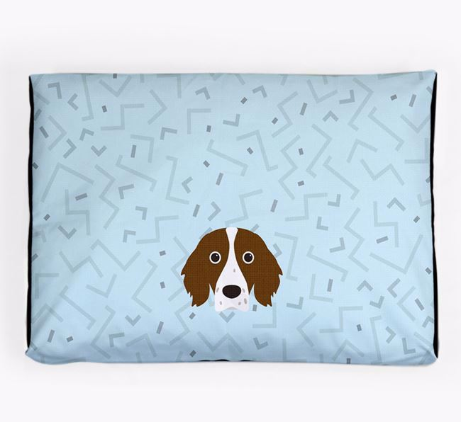Personalised Minimal Dog Bed with Irish Red & White Setter Icon