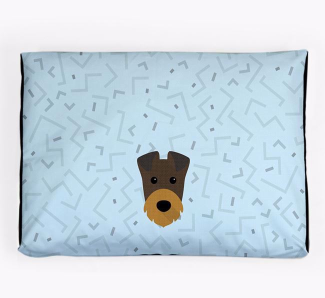 Personalised Minimal Dog Bed with Irish Terrier Icon
