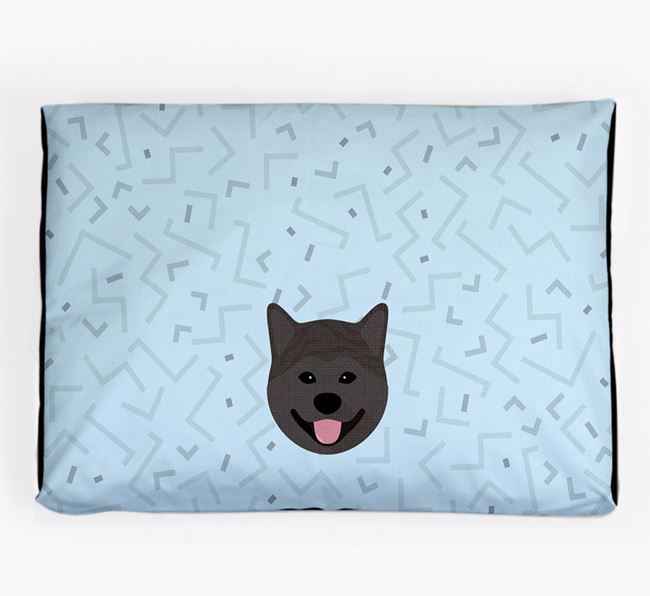 Personalised Minimal Dog Bed with Japanese Akita Icon