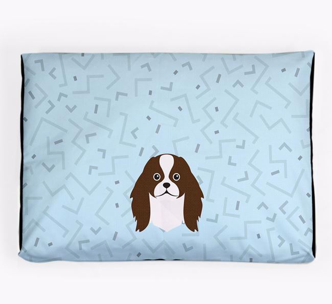 Personalised Minimal Dog Bed with Japanese Chin Icon