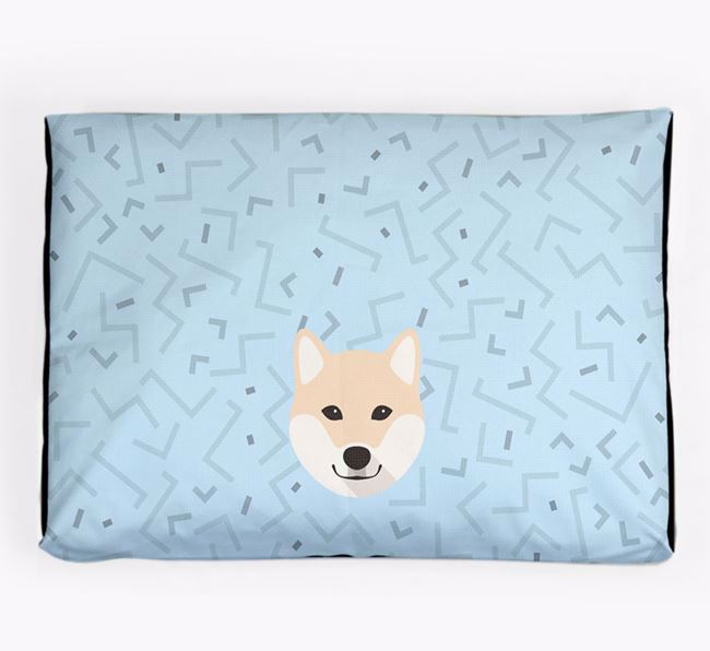 Personalised Minimal Dog Bed with Japanese Shiba Icon