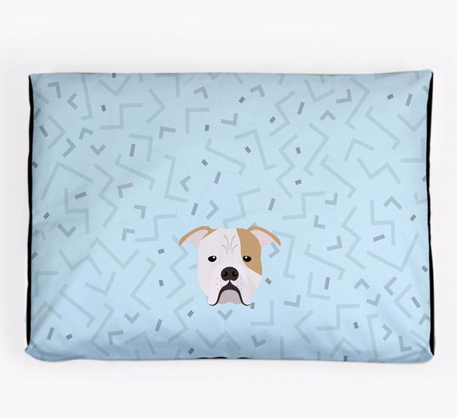 Personalised Minimal Dog Bed with Johnson American Bulldog Icon