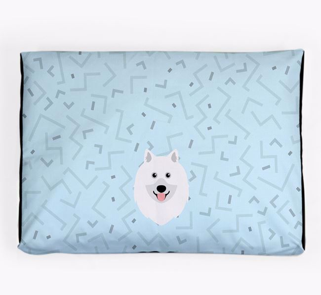 Personalised Minimal Dog Bed with Keeshond Icon