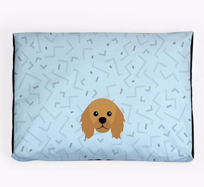 Personalised Minimal Dog Bed with King Charles Spaniel Icon