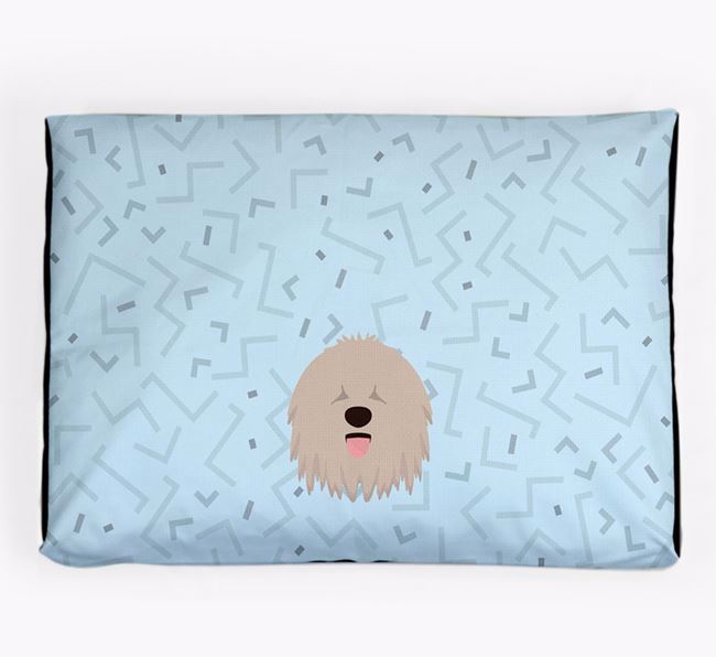 Personalised Minimal Dog Bed with Komondor Icon