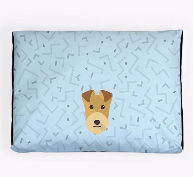 Personalised Minimal Dog Bed with Lakeland Terrier Icon