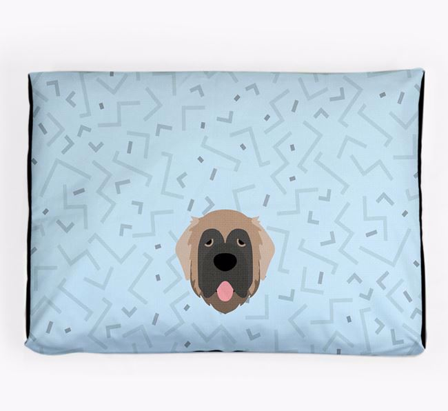 Personalised Minimal Dog Bed with Leonberger Icon