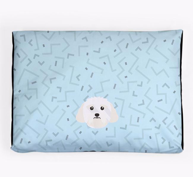 Personalised Minimal Dog Bed with Lhasa Apso Icon