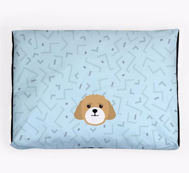 Personalised Minimal Dog Bed with Lhasapoo Icon