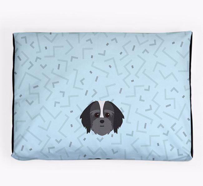 Personalised Minimal Dog Bed with Lhatese Icon