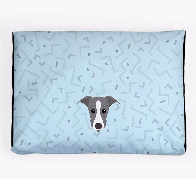 Personalised Minimal Dog Bed with Lurcher Icon