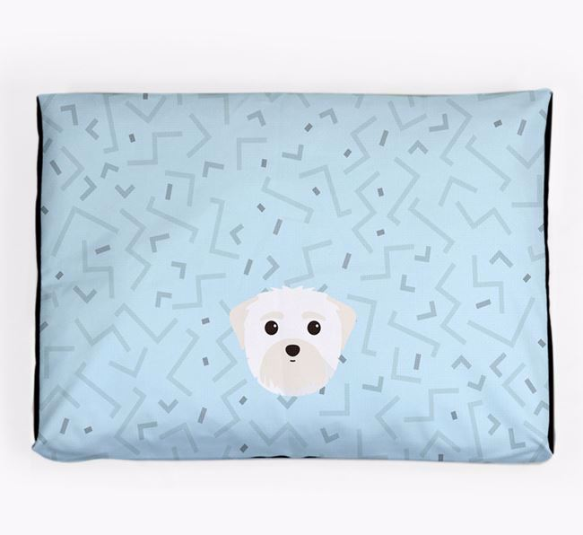 Personalised Minimal Dog Bed with Maltese Icon