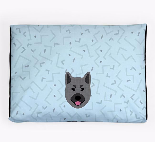 Personalised Minimal Dog Bed with Norwegian Elkhound Icon