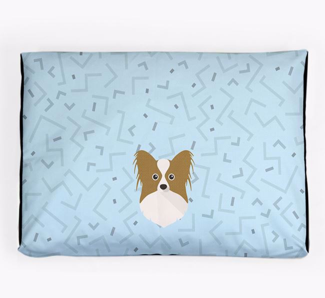 Personalised Minimal Dog Bed with Papillon Icon