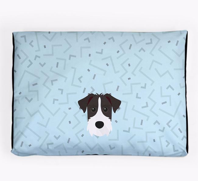 Personalised Minimal Dog Bed with Patterdale Terrier Icon