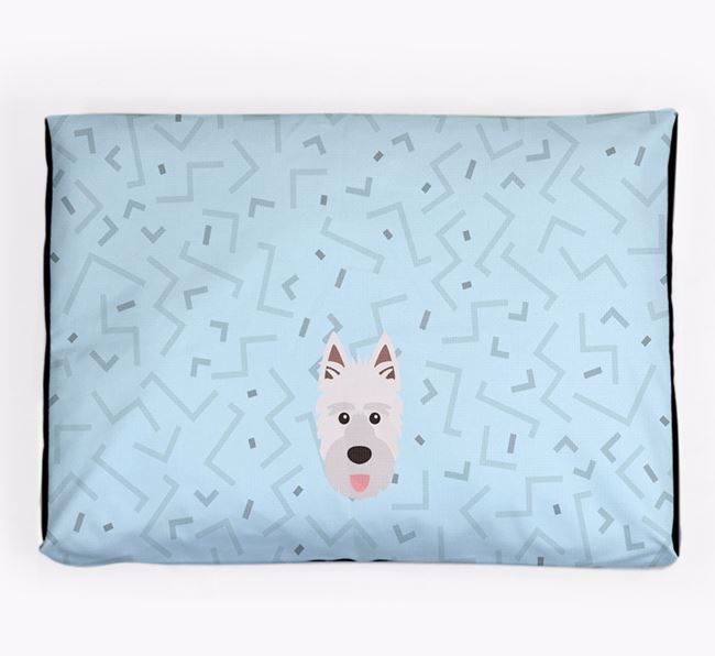 Personalised Minimal Dog Bed with Picardy Sheepdog Icon
