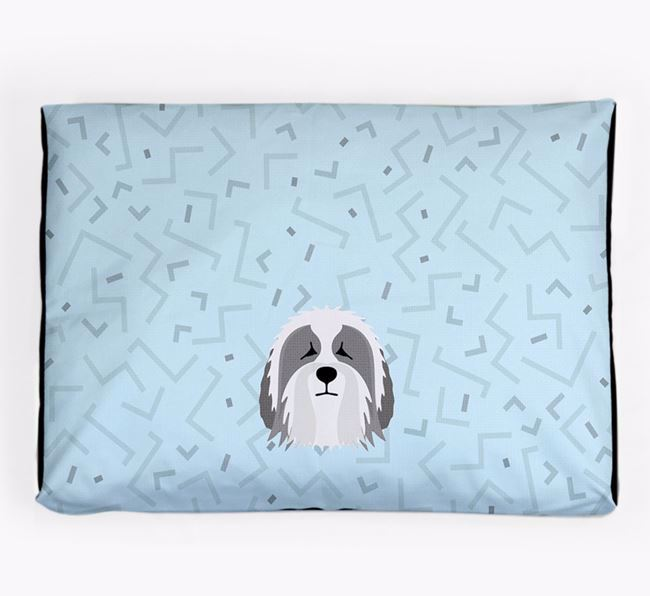 Personalised Minimal Dog Bed with Polish Lowland Sheepdog Icon