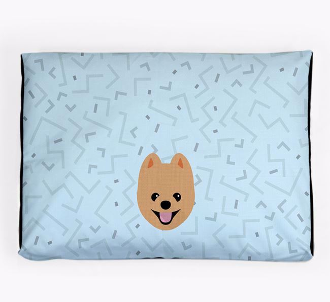 Personalised Minimal Dog Bed with Pomeranian Icon