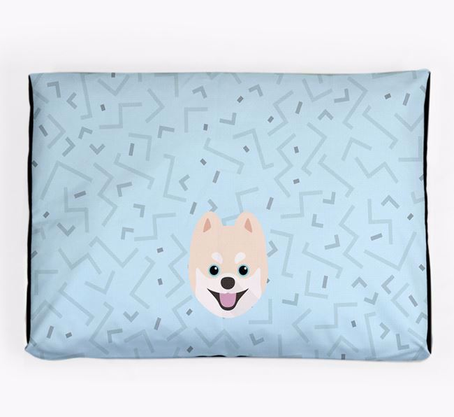 Personalised Minimal Dog Bed with Pomsky Icon