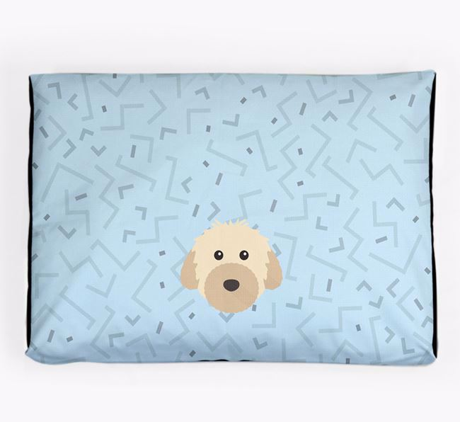 Personalised Minimal Dog Bed with Powderpuff Chinese Crested Icon
