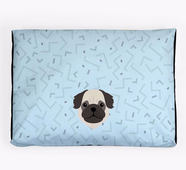 Personalised Minimal Dog Bed with Pug Icon