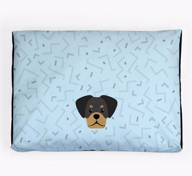 Personalised Minimal Dog Bed with Pugalier Icon