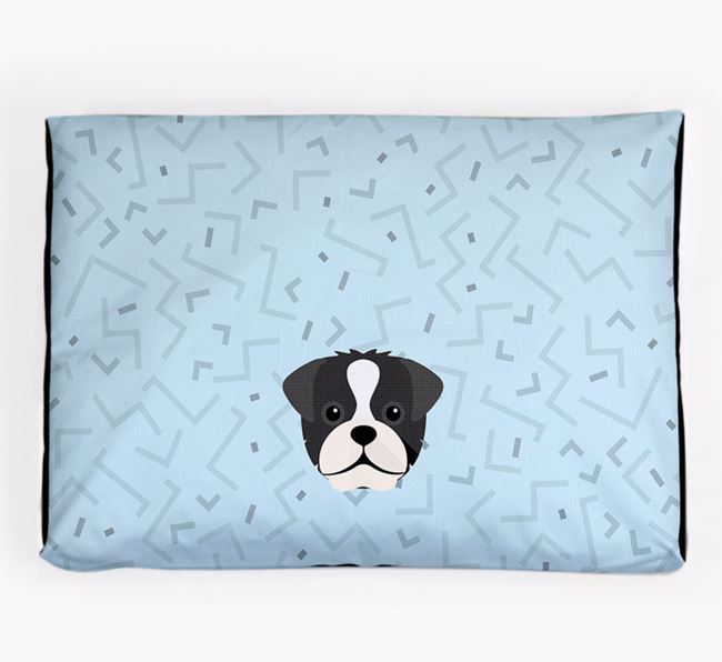 Personalised Minimal Dog Bed with Pugapoo Icon