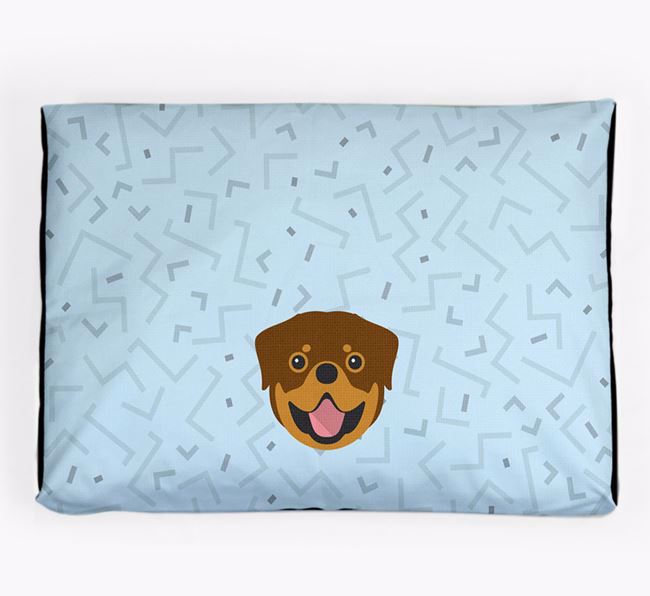 Personalised Minimal Dog Bed with Rottweiler Icon