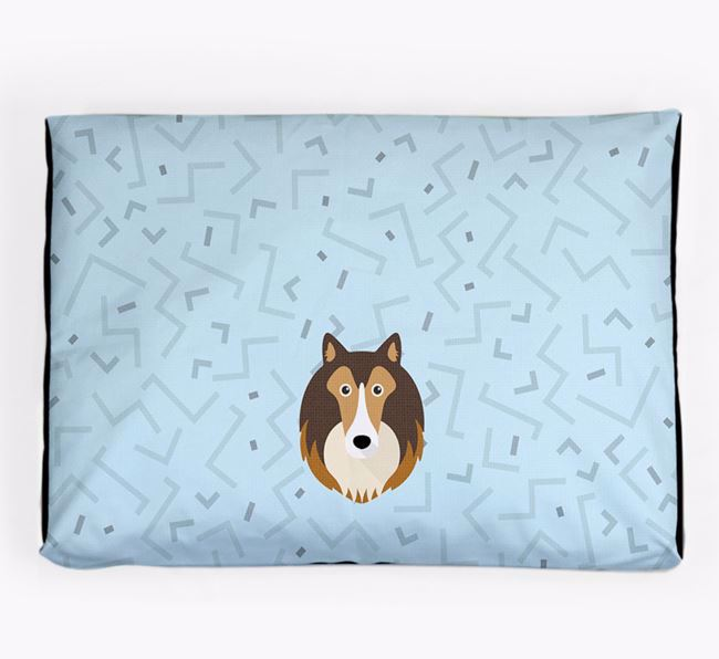 Personalised Minimal Dog Bed with Rough Collie Icon