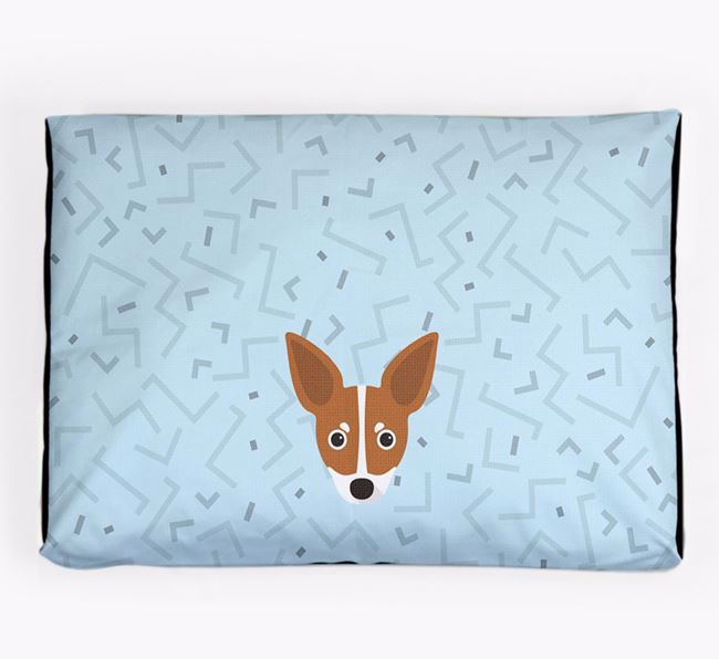 Personalised Minimal Dog Bed with Russian Toy Icon