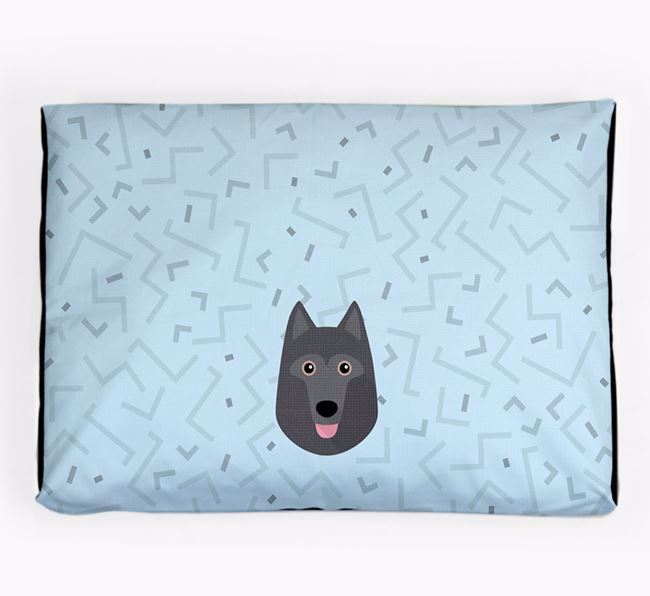 Personalised Minimal Dog Bed with Schipperke Icon