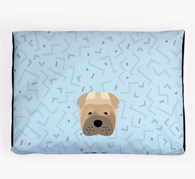 Personalised Minimal Dog Bed with Shar Pei Icon