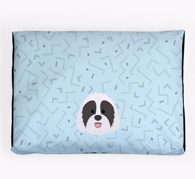 Personalised Minimal Dog Bed with Sheepadoodle Icon