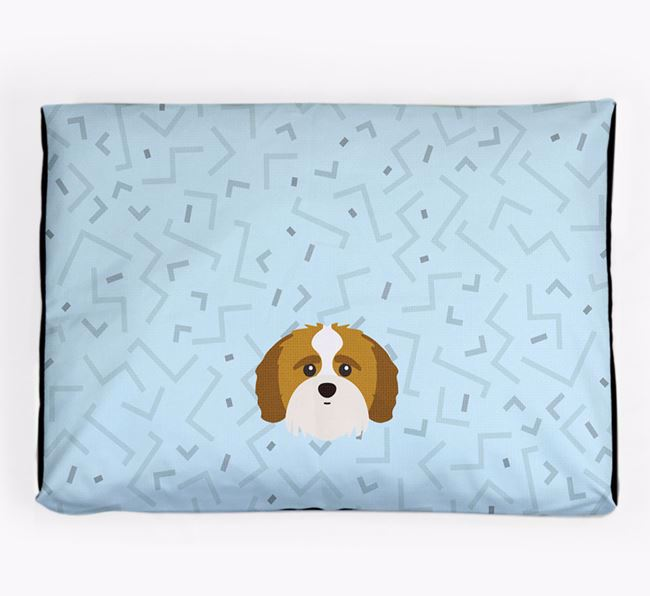 Personalised Minimal Dog Bed with Shih-poo Icon