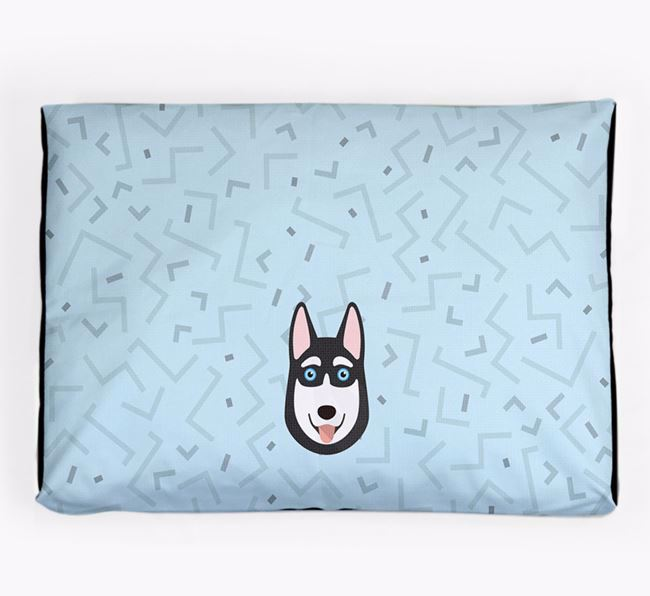 Personalised Minimal Dog Bed with Siberian Husky Icon