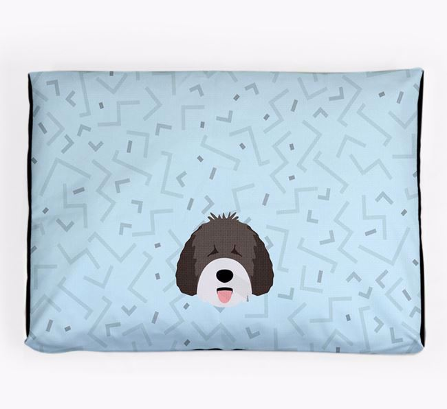 Personalised Minimal Dog Bed with Spanish Water Dog Icon