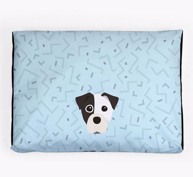 Personalised Minimal Dog Bed with Staffy Jack Icon