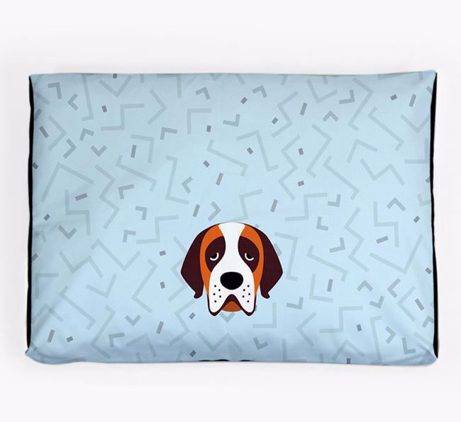 Personalised Minimal Dog Bed with St. Bernard Icon