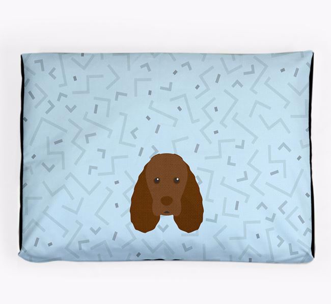 Personalised Minimal Dog Bed with Sussex Spaniel Icon