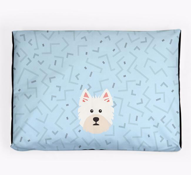 Personalised Minimal Dog Bed with West Highland White Terrier Icon