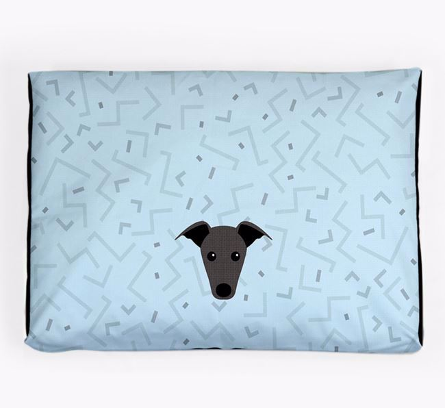 Personalised Minimal Dog Bed with Whippet Icon