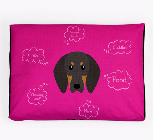 Personalised 'Sweet Dreams' Dog Bed for your Black and Tan Coonhound